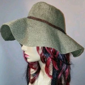 NWOT HBY MIAMI GREEN BROWN BEAD WICKER HAT